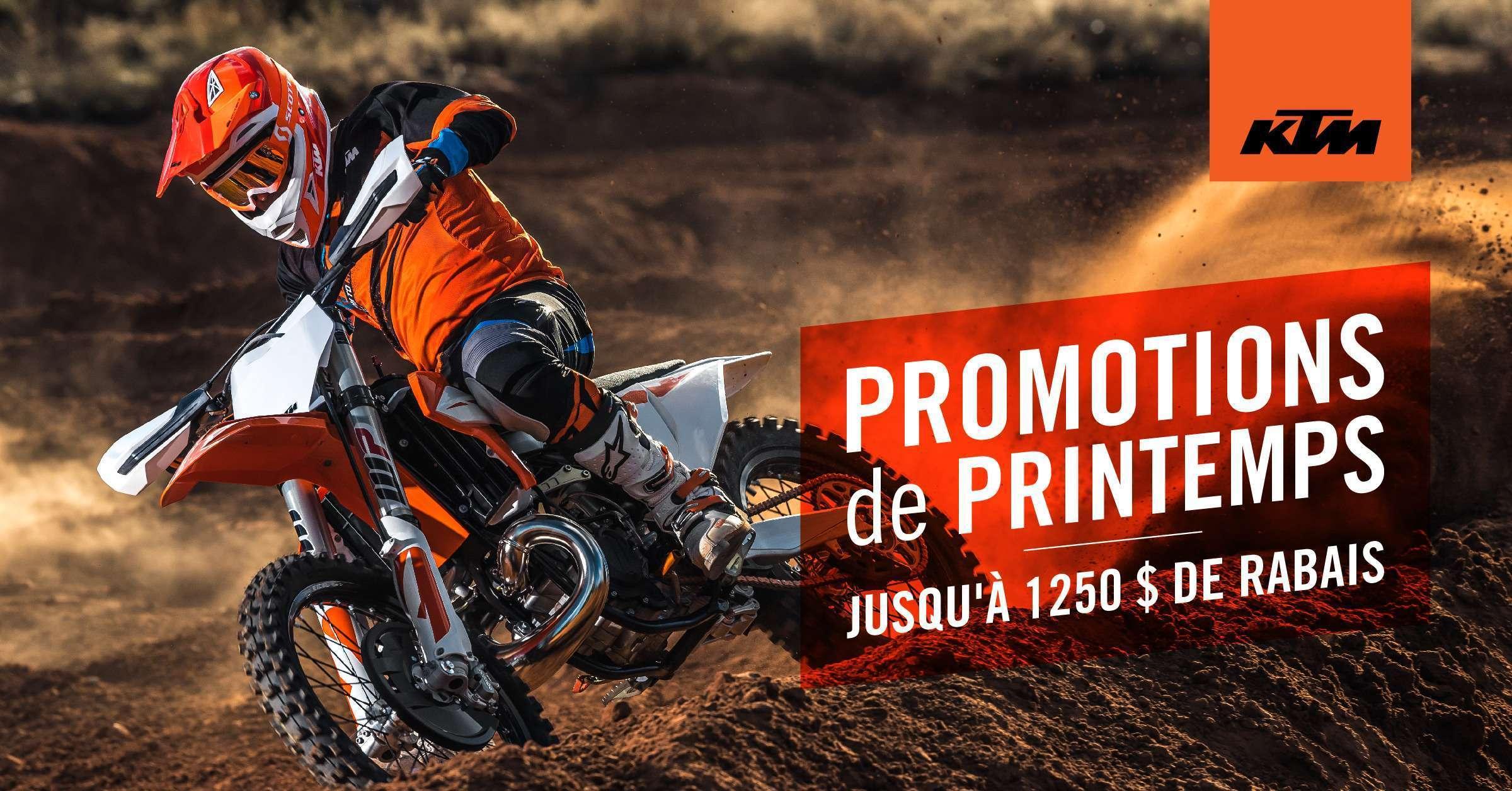 Profitez de rabais sur les motocross et motos hors route KTM!