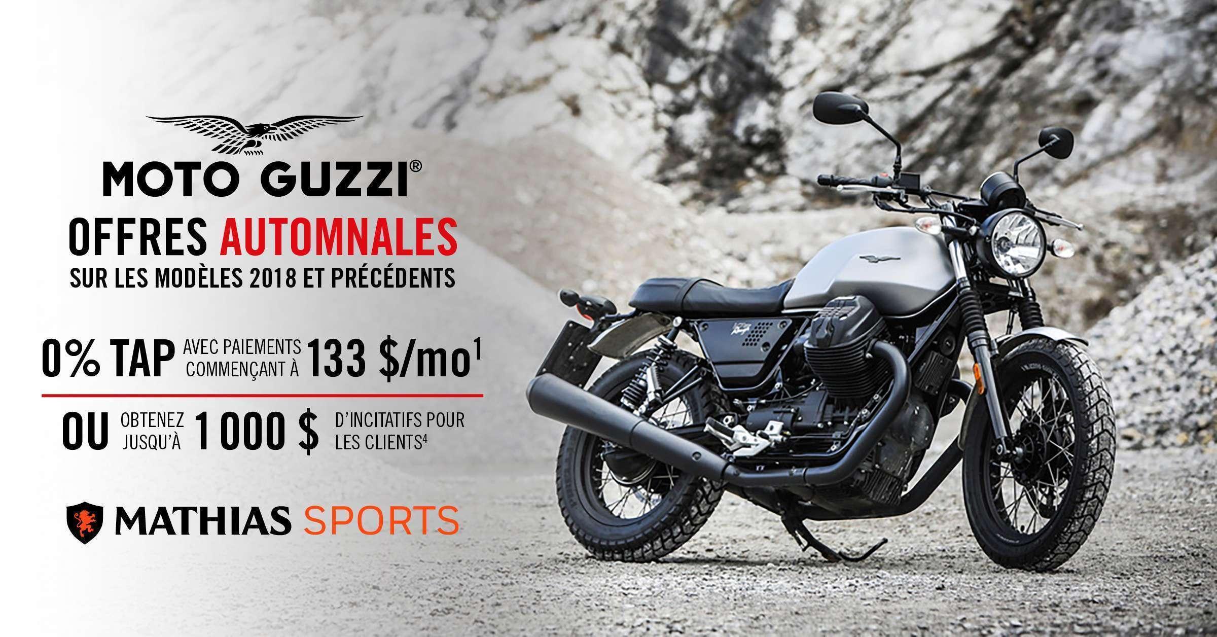 Ne passez pas à coté des offres automnales de Moto Guzzi!