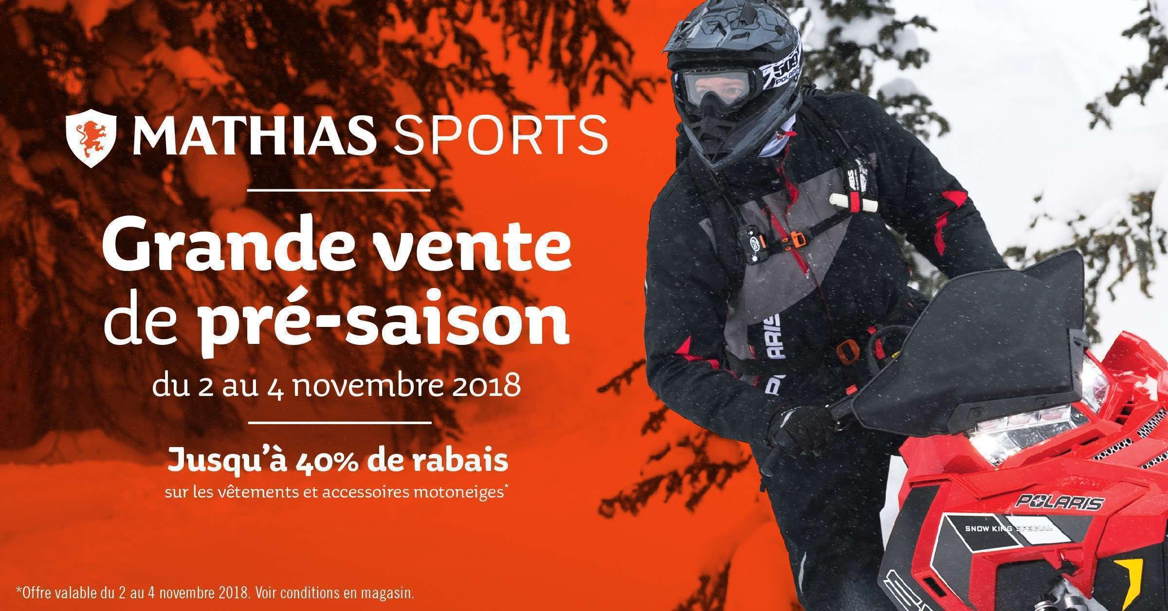 Du 2 au 4 novembre: grande vente de pré-saison sur les vêtements et accessoires pour motoneiges!