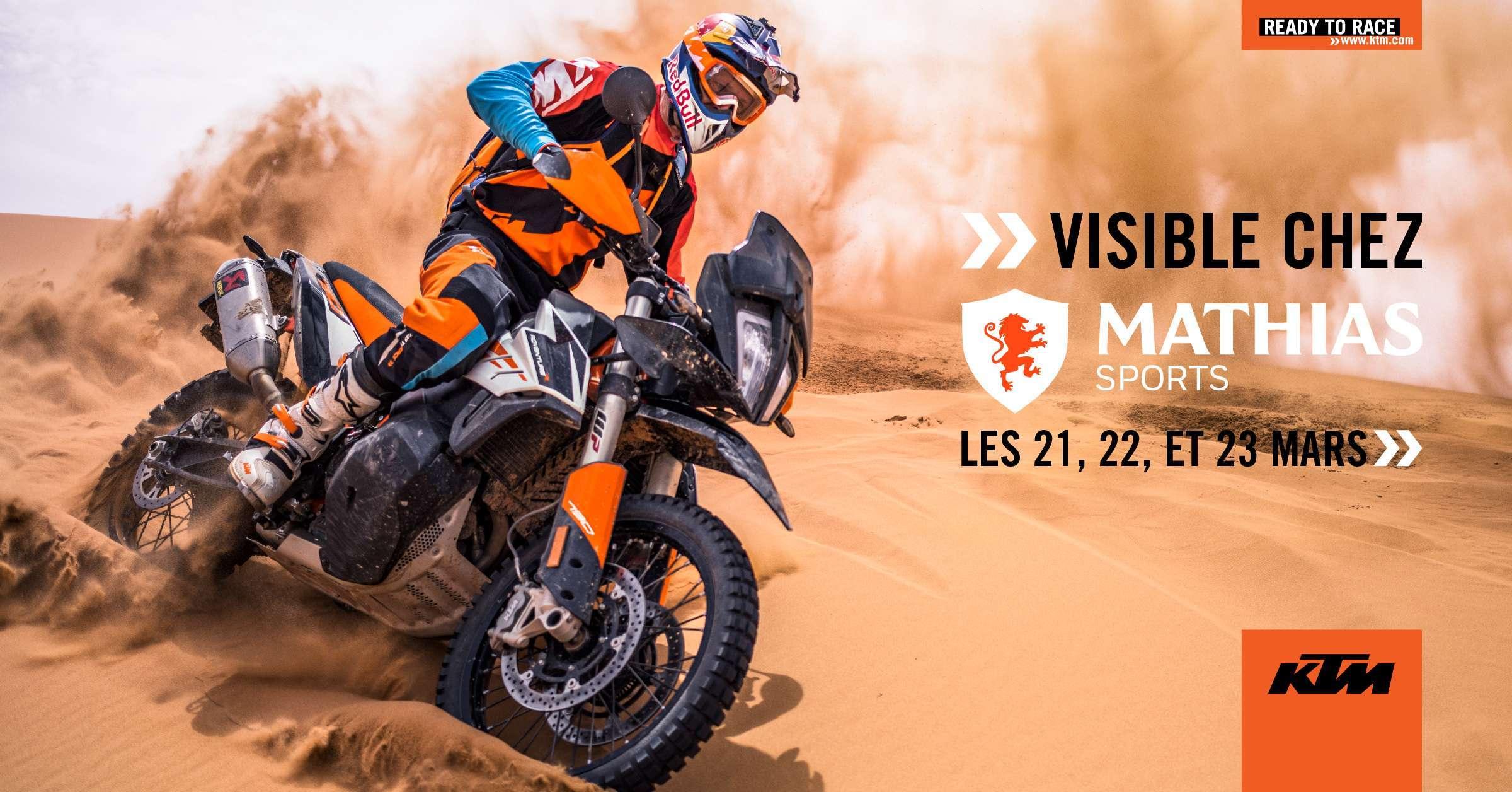 Nouvelle KTM 790 ADVENTURE R 2019 visible chez Mathias Sports les 21, 22, et 23 mars